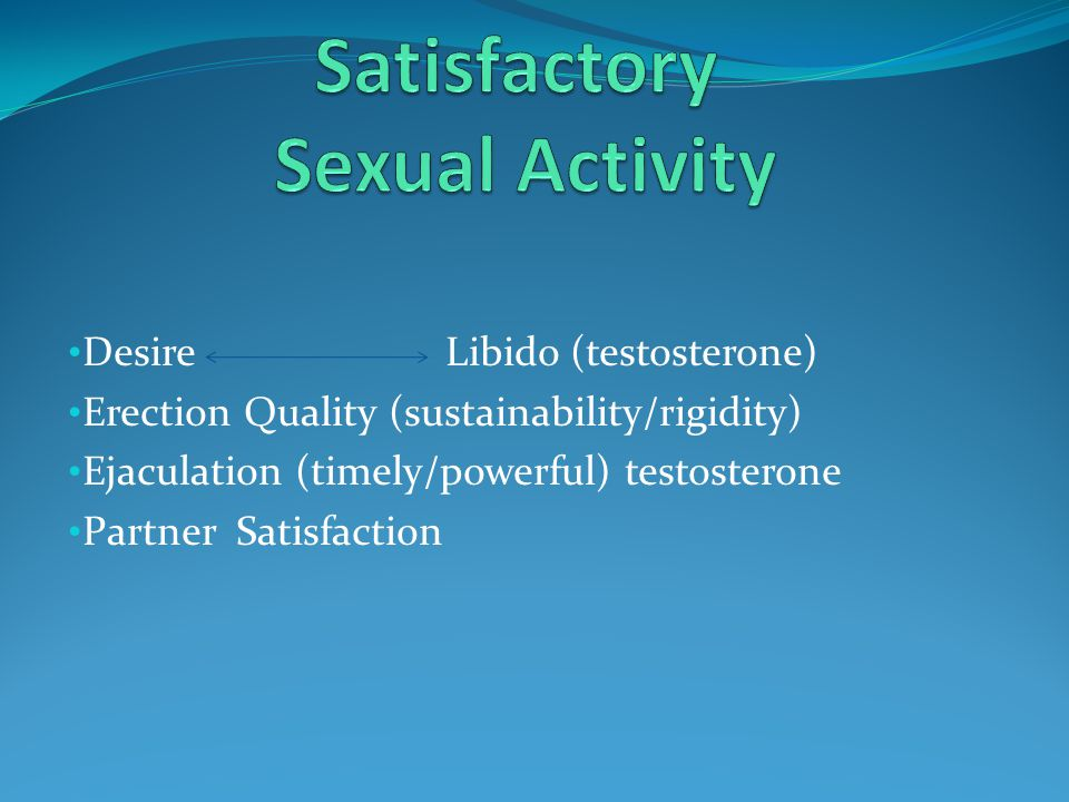 Desire Libido (testosterone) Erection Quality (sustainability/rigidity) Ejaculation (timely/powerful) testosterone Partner Satisfaction