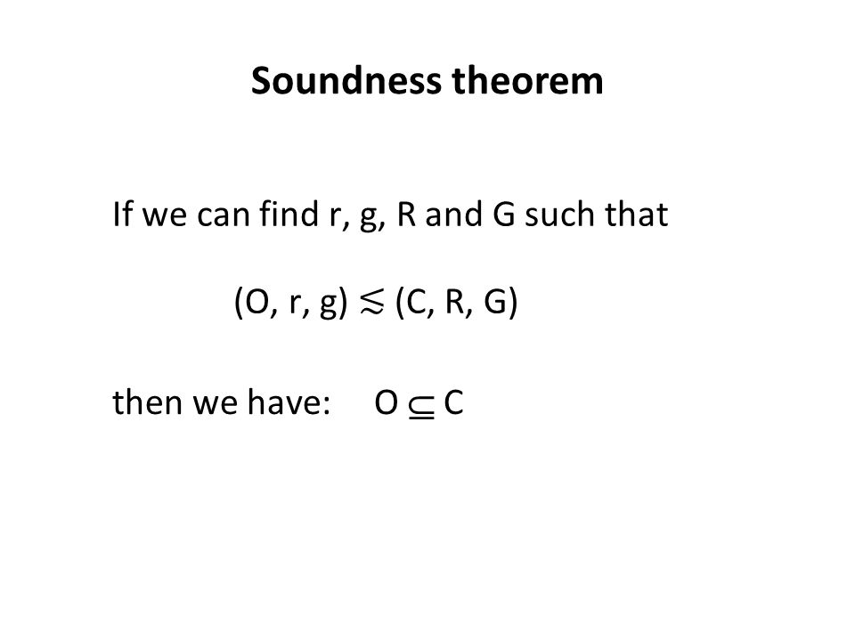 Soundness theorem (O, r, g) ≲ (C, R, G) If we can find r, g, R and G such that then we have: O  C