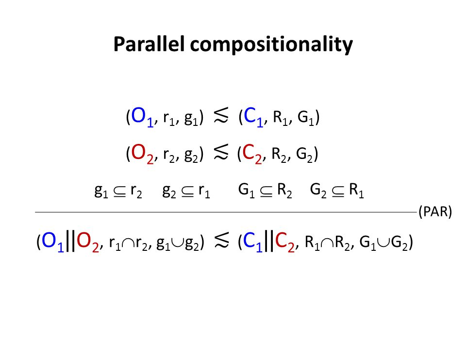 Parallel compositionality ( O 1 || O 2, r 1  r 2, g 1  g 2 ) ≲ ( C 1 || C 2, R 1  R 2, G 1  G 2 ) ( O 2, r 2, g 2 ) ≲ ( C 2, R 2, G 2 ) ( O 1, r 1, g 1 ) ≲ ( C 1, R 1, G 1 ) g 1  r 2 g 2  r 1 G 1  R 2 G 2  R 1 (PAR)