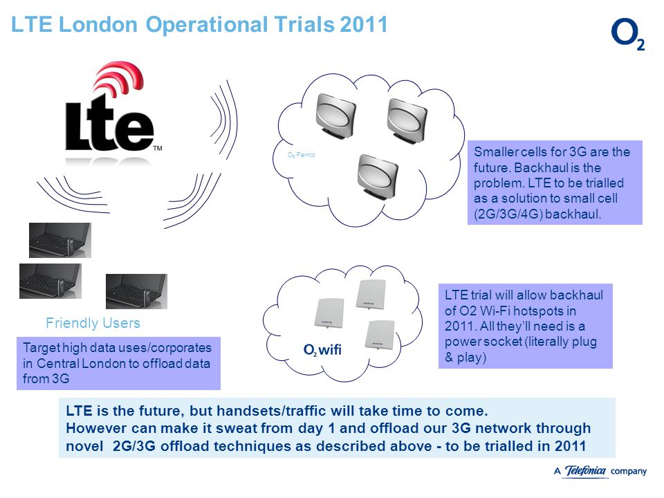 O 2 Femto LTE London Operational Trials 2011 Target high data uses/corporates in Central London to offload data from 3G LTE trial will allow backhaul