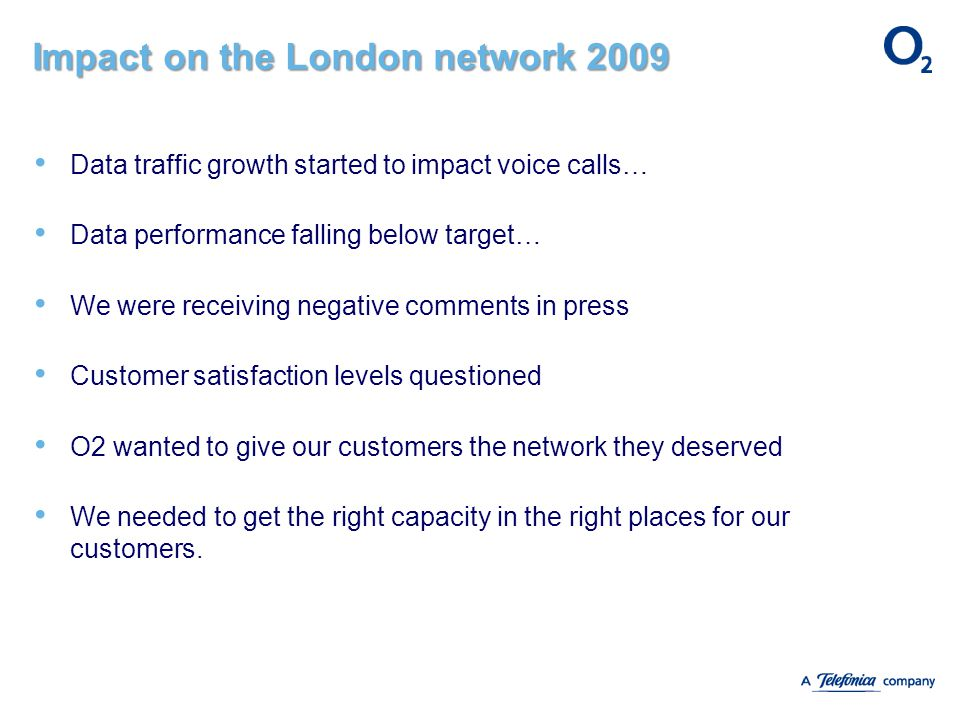 Impact on the London network 2009 Data traffic growth started to impact voice calls… Data performance falling below target… We were receiving negative