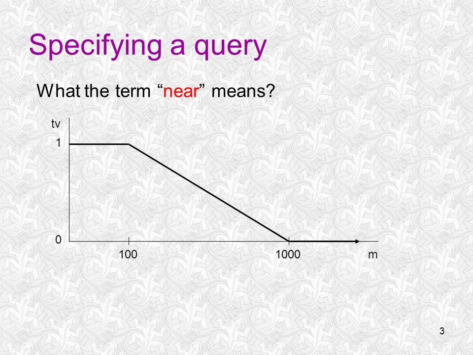3 Specifying a query What the term near means m tv 1001000 1 0