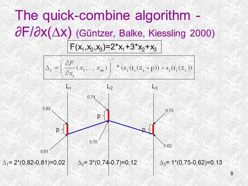 9 The quick-combine algorithm - ∂F/∂x(∆x) (Gűntzer, Balke, Kiessling 2000) L1L1 L2L2 L3L3 p p p 0,75 0,62 F(x 1,x 2,x 3 )=2*x 1 +3*x 2 +x 3 0,82 0,81 ∆ 1 = 2*(0,82-0,81)=0,02 0,74 0,70 ∆ 2 = 3*(0,74-0,7)=0,12∆ 3 = 1*(0,75-0,62)=0,13