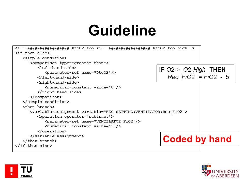 Guideline Coded by hand IF O2 > O2-High THEN Rec_FiO2 = FiO2 - 5