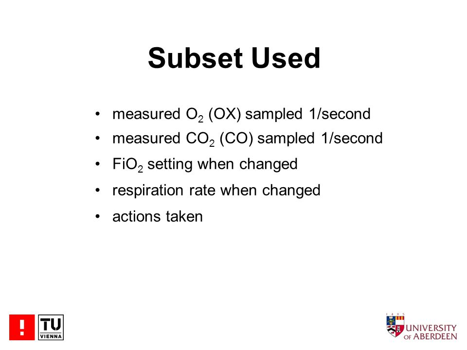 Subset Used measured O 2 (OX) sampled 1/second measured CO 2 (CO) sampled 1/second FiO 2 setting when changed respiration rate when changed actions taken