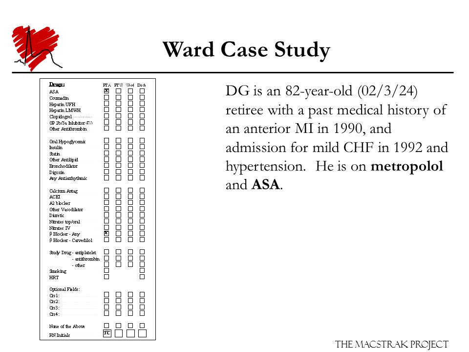 The Macstrak Project Ward Case Study DG is an 82-year-old (02/3/24) retiree with a past medical history of an anterior MI in 1990, and admission for mild CHF in 1992 and hypertension.