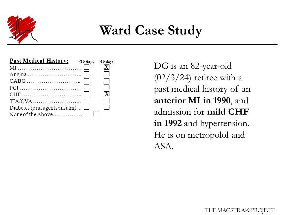 The Macstrak Project Past Medical History : 30 days MI …………………………….