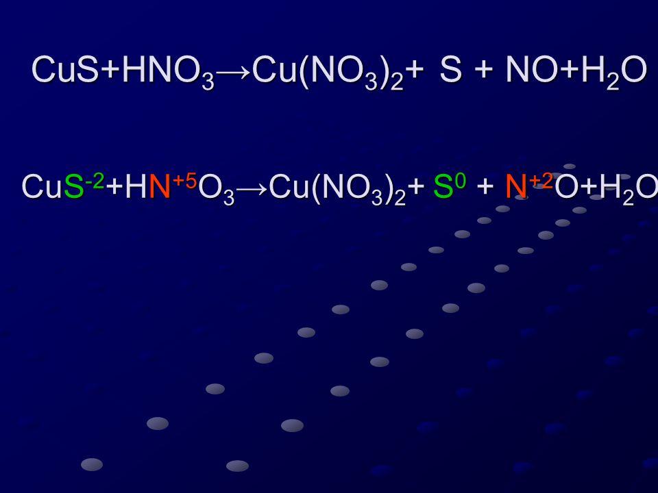 CuS -2 +HN +5 O 3 →Cu(NO 3 ) 2 + S 0 + N +2 O+H 2 O