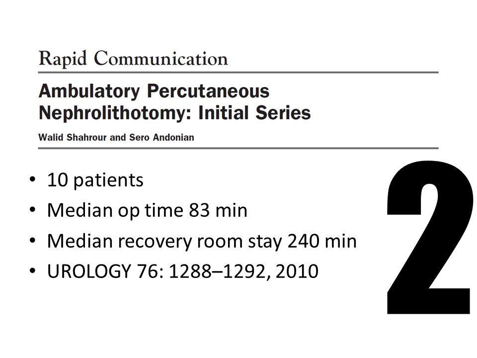 10 patients Median op time 83 min Median recovery room stay 240 min UROLOGY 76: 1288–1292, 2010 2