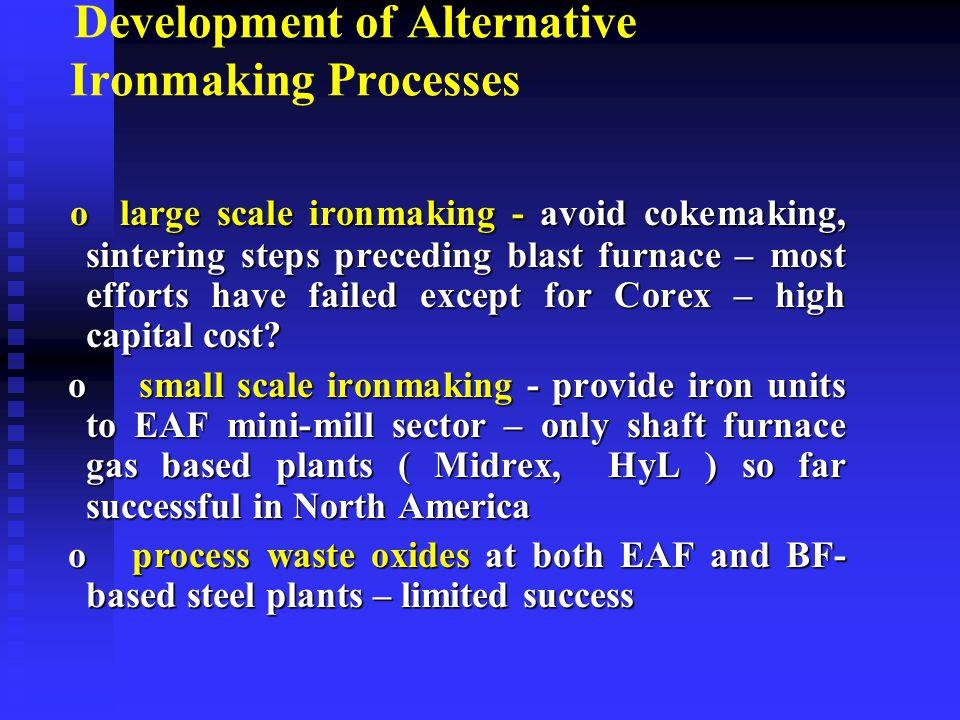 Development of Alternative Ironmaking Processes o large scale ironmaking - avoid cokemaking, sintering steps preceding blast furnace – most efforts ha