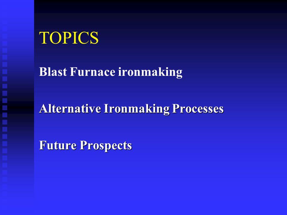 TOPICS Blast Furnace ironmaking Alternative Ironmaking Processes Future Prospects