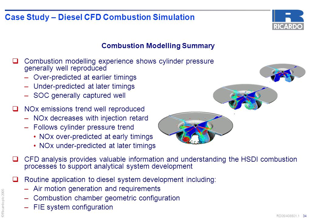 © Ricardo plc 2005 RD05/406501.1 34 Case Study – Diesel CFD Combustion Simulation  Combustion modelling experience shows cylinder pressure generally