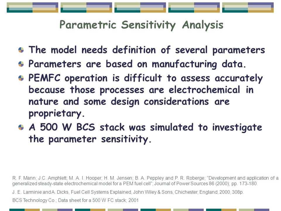 Parametric Sensitivity Analysis The model needs definition of several parameters Parameters are based on manufacturing data. PEMFC operation is diffic