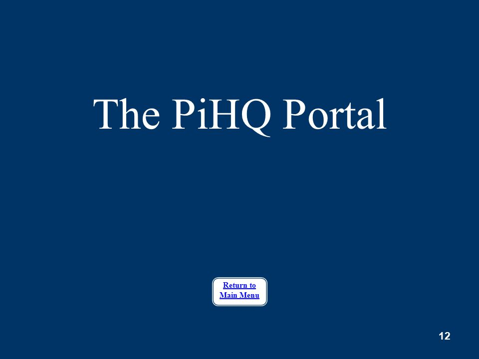 12 The PiHQ Portal Return to Main Menu