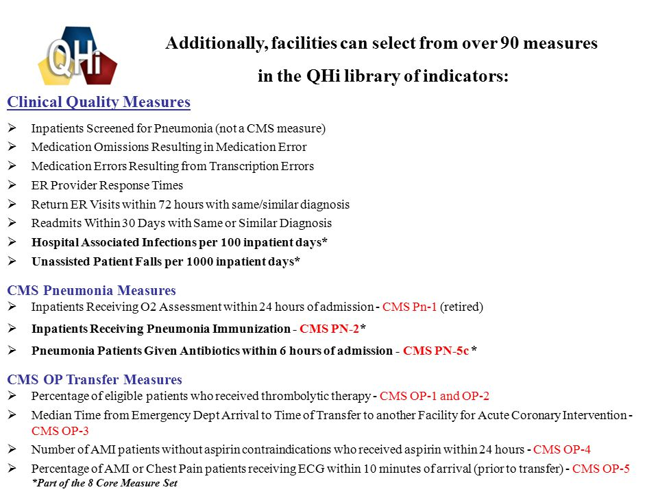 7 Clinical Quality Measures  Inpatients Screened for Pneumonia (not a CMS measure)  Medication Omissions Resulting in Medication Error  Medication