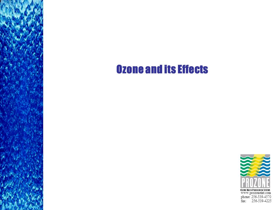 www.prozoneint.com phone: 256-539-4570 fax: 256-539-4225 Ozone and its Effects
