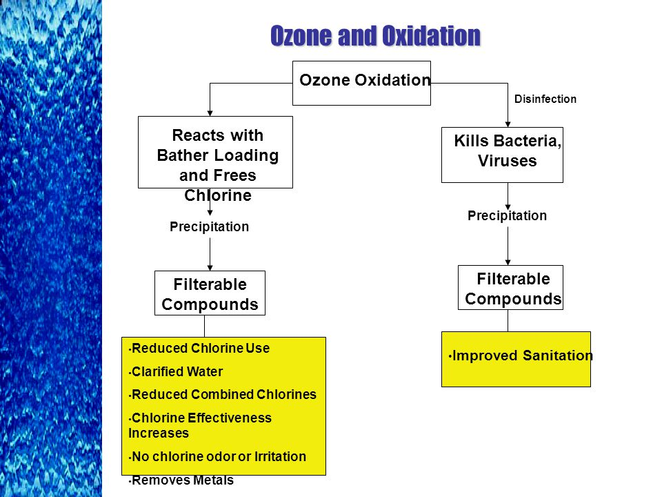 Ozone and Oxidation Ozone Oxidation Reacts with Bather Loading and Frees Chlorine Kills Bacteria, Viruses Filterable Compounds Reduced Chlorine Use Clarified Water Reduced Combined Chlorines Chlorine Effectiveness Increases No chlorine odor or Irritation Removes Metals Filterable Compounds Improved Sanitation Precipitation Disinfection