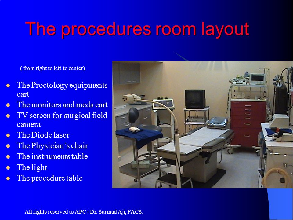 All rights reserved to APC - Dr. Sarmad Aji, FACS. The procedures room layout ( from right to left to center) The Proctology equipments cart The monit