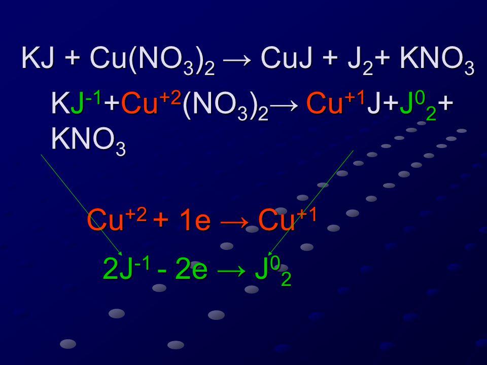 KJ + Cu(NO 3 ) 2 → CuJ + J 2 + KNO 3 KJ + Cu(NO 3 ) 2 → CuJ + J 2 + KNO 3 KJ -1 +Cu +2 (NO 3 ) 2 → Cu +1 J+J 0 2 + KNO 3 KJ -1 +Cu +2 (NO 3 ) 2 → Cu +1 J+J 0 2 + KNO 3 Cu +2 + 1e → Cu +1 2J -1 - 2e → J 0 2