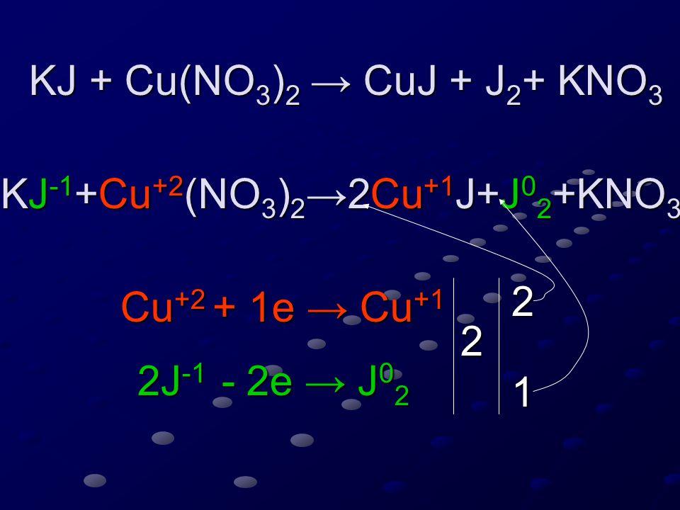 KJ + Cu(NO 3 ) 2 → CuJ + J 2 + KNO 3 KJ + Cu(NO 3 ) 2 → CuJ + J 2 + KNO 3 KJ -1 +Cu +2 (NO 3 ) 2 →2Cu +1 J+J 0 2 +KNO 3 Cu +2 + 1e → Cu +1 2J -1 - 2e → J 0 2 2 2 1