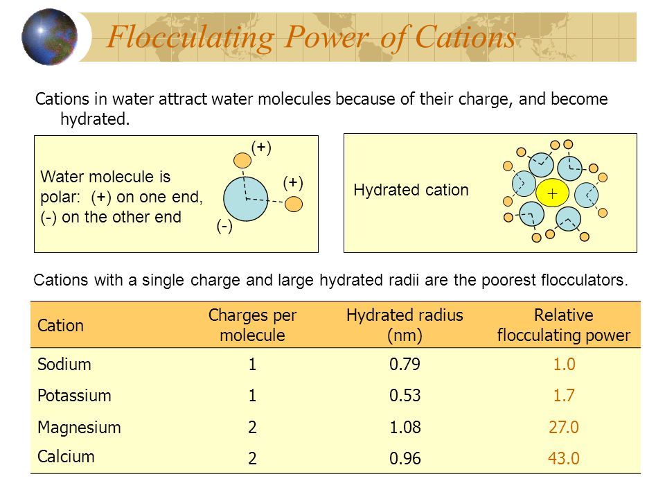 Flocculating Power of Cations Cations in water attract water molecules because of their charge, and become hydrated. Cations with a single charge and