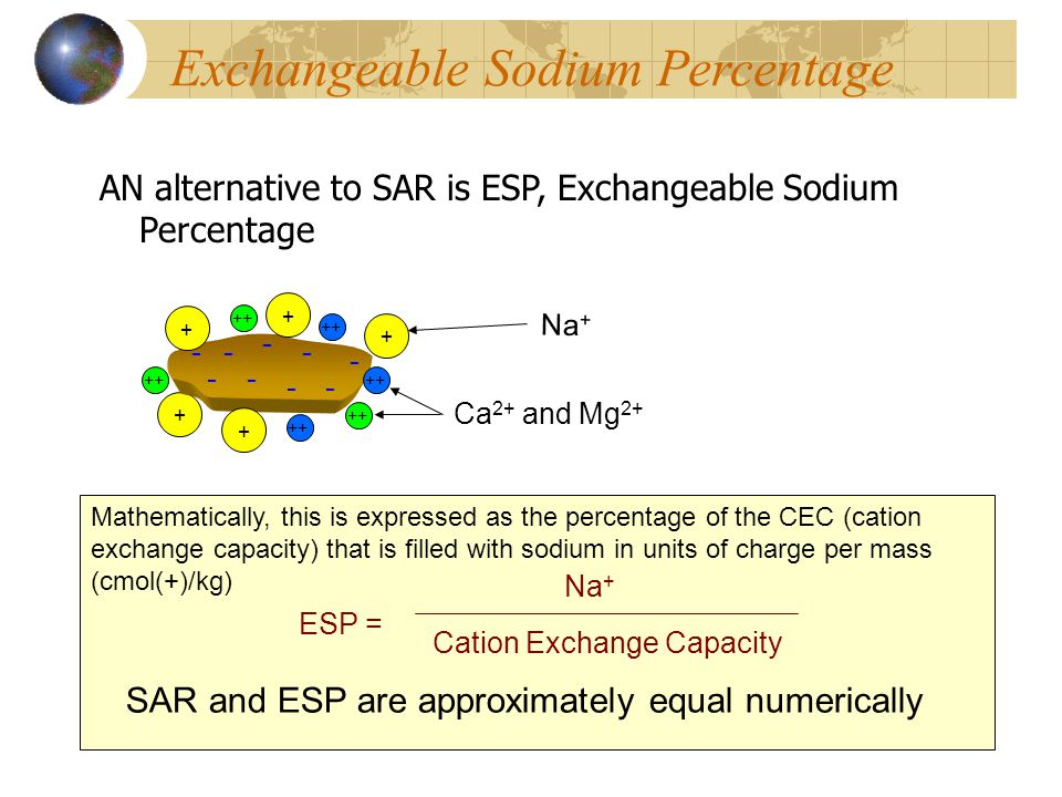 Exchangeable Sodium Percentage AN alternative to SAR is ESP, Exchangeable Sodium Percentage Na + + Ca 2+ and Mg 2+ ++ Mathematically, this is expresse