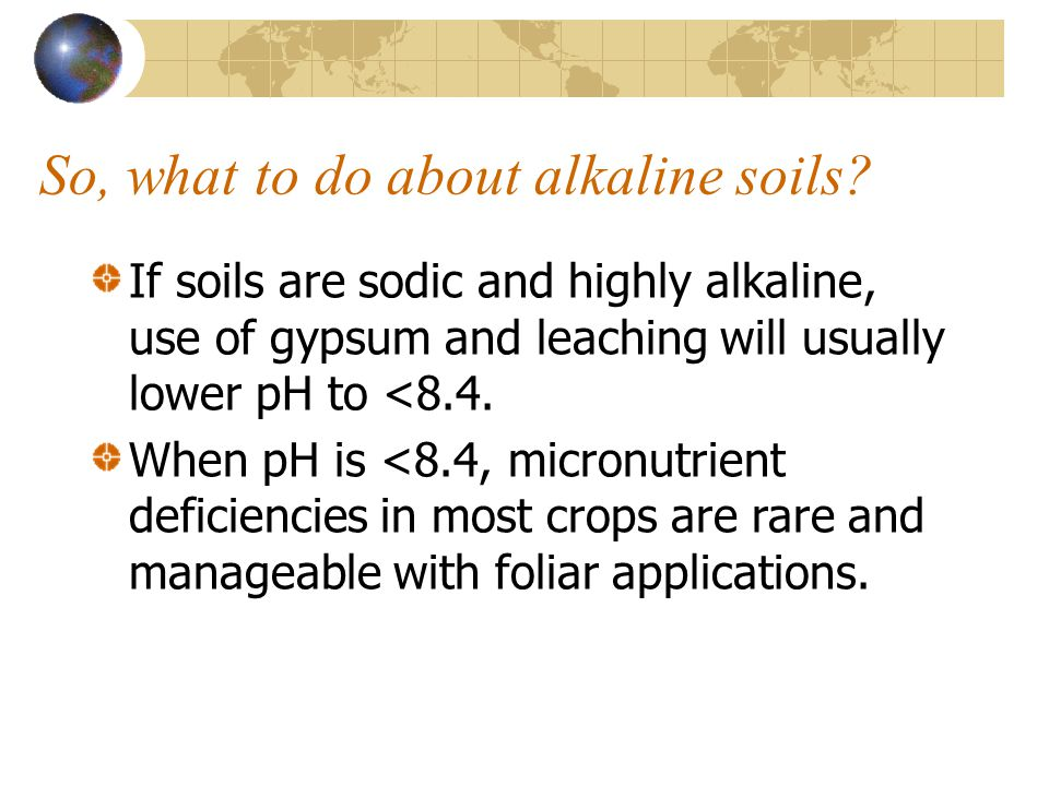 So, what to do about alkaline soils? If soils are sodic and highly alkaline, use of gypsum and leaching will usually lower pH to <8.4. When pH is <8.4