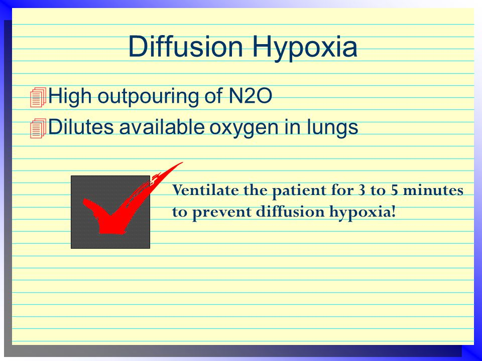 Elimination of N2O  Rapid  Primarily through the lungs  Small amount through skin, sweat glands, urine, and intestinal gas