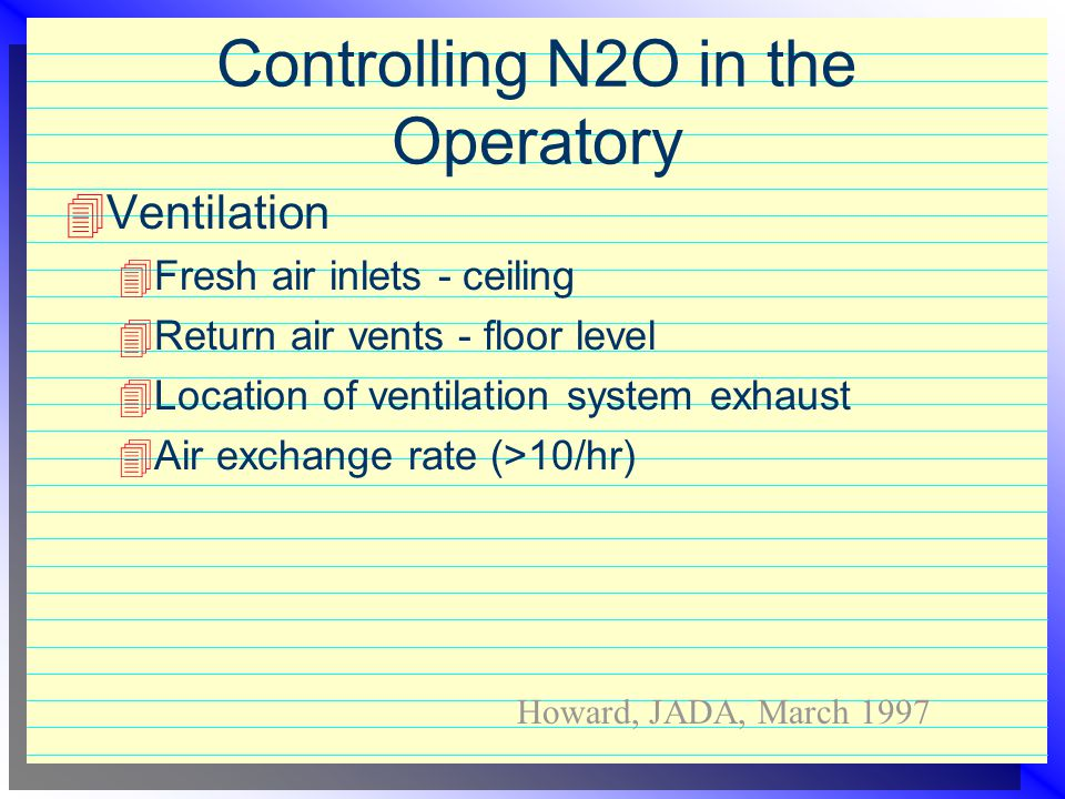 Controlling N2O in the Operatory  Engineering controls  Inspection  equipment for wear, cracks, tears  test connections  Scavenging system  no s