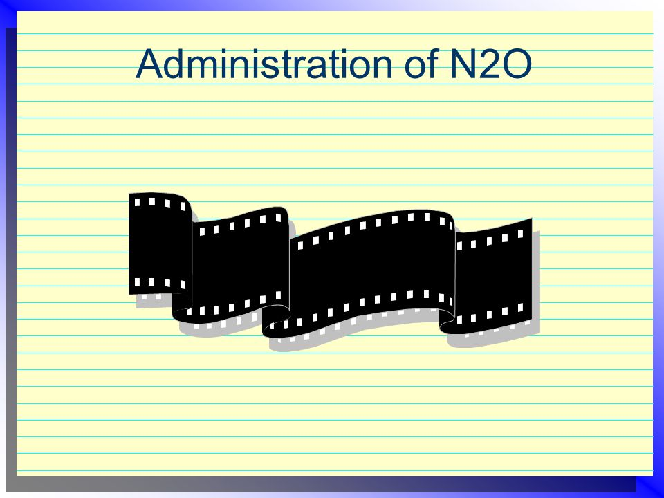 Administration of N2O  Medical history & vital signs  5 - 6 liters O2  Increase N2O gradually; watch for stages of analgesia  Maintenance about 20