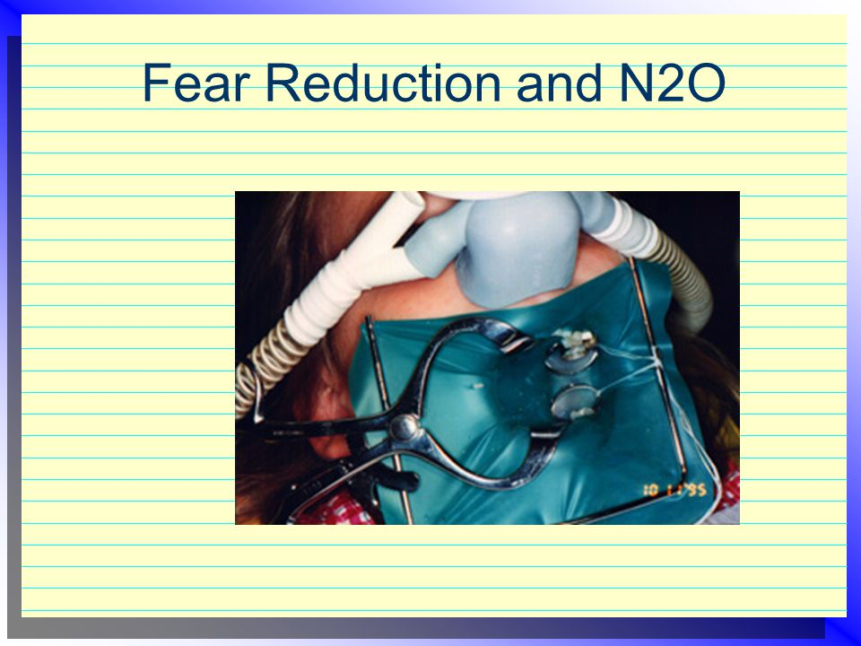 N2O Scavenging  Factors of scavenging effectiveness  auxilliary evacuation  rate of evacuation of scavenging device  operatory ventilation  use of air sweep fans  reduced concentration of delivered N2O  poor patient behavior  certain procedures (local anesthesia)  improper administration  loose connections