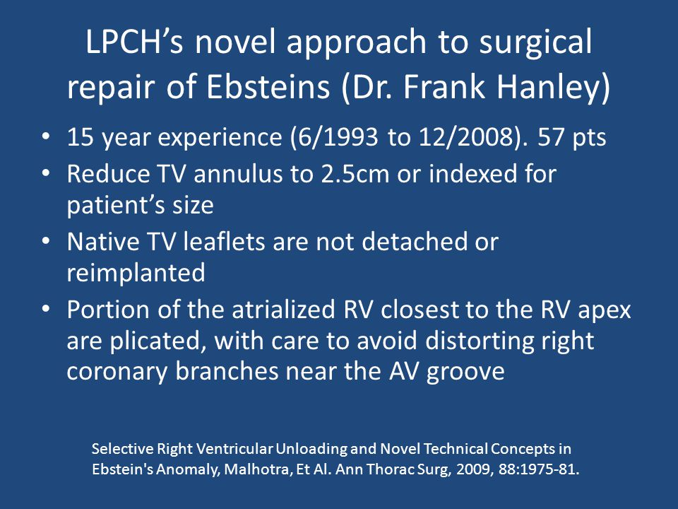 LPCH's novel approach to surgical repair of Ebsteins (Dr.
