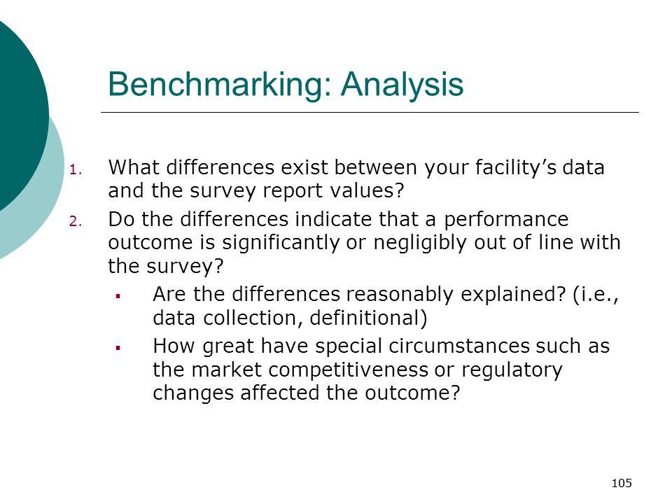 105 Benchmarking: Analysis 1.