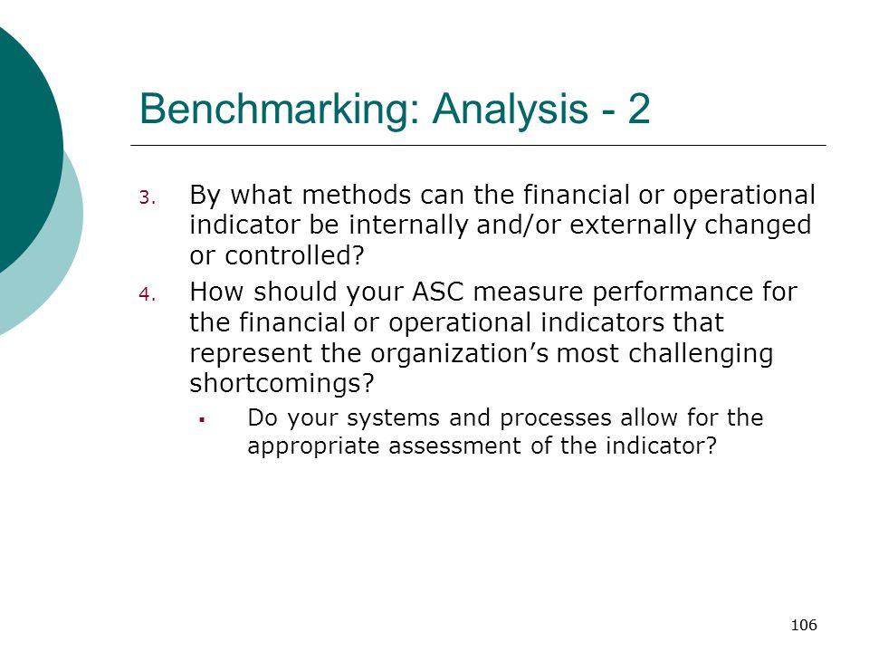 106 Benchmarking: Analysis - 2 3.