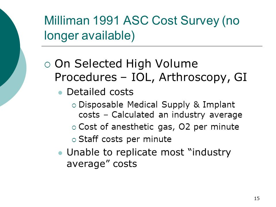 15 Milliman 1991 ASC Cost Survey (no longer available)  On Selected High Volume Procedures – IOL, Arthroscopy, GI Detailed costs  Disposable Medical Supply & Implant costs – Calculated an industry average  Cost of anesthetic gas, O2 per minute  Staff costs per minute Unable to replicate most industry average costs