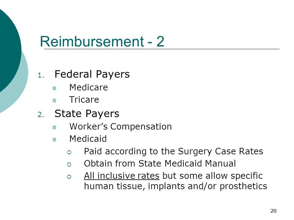20 Reimbursement - 2 1. Federal Payers Medicare Tricare 2.
