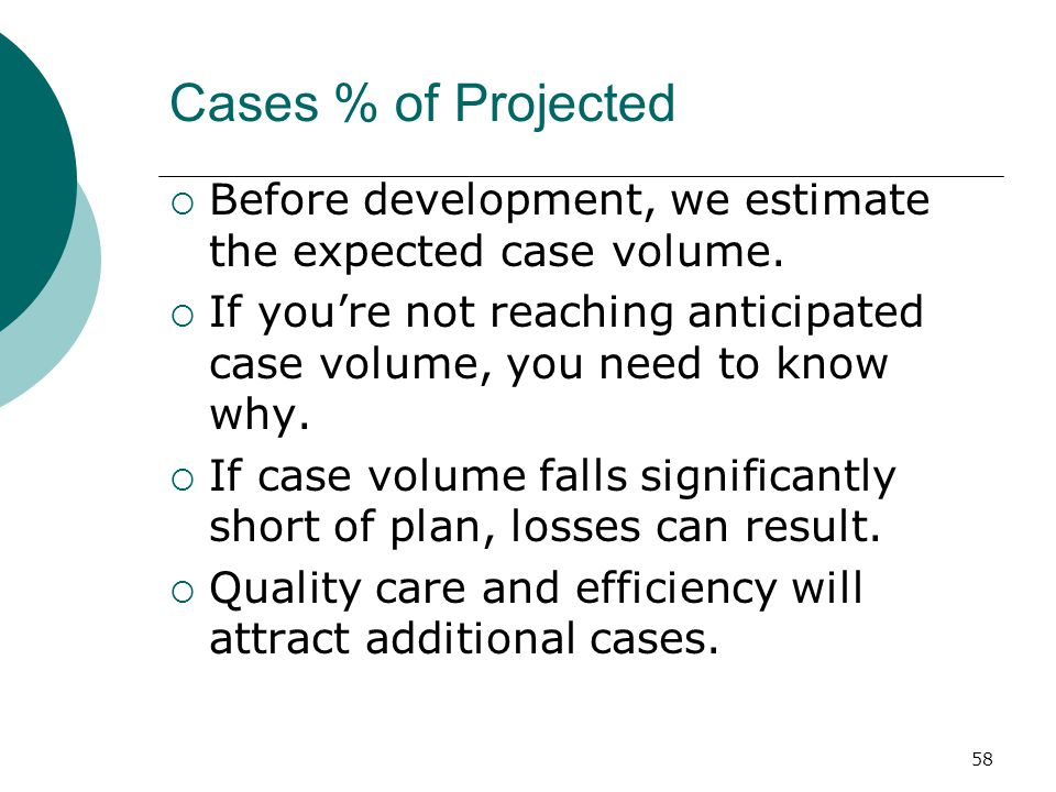 58 Cases % of Projected  Before development, we estimate the expected case volume.