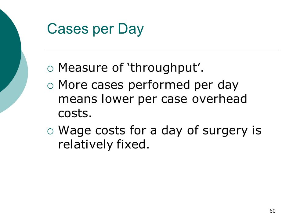 60 Cases per Day  Measure of 'throughput'.