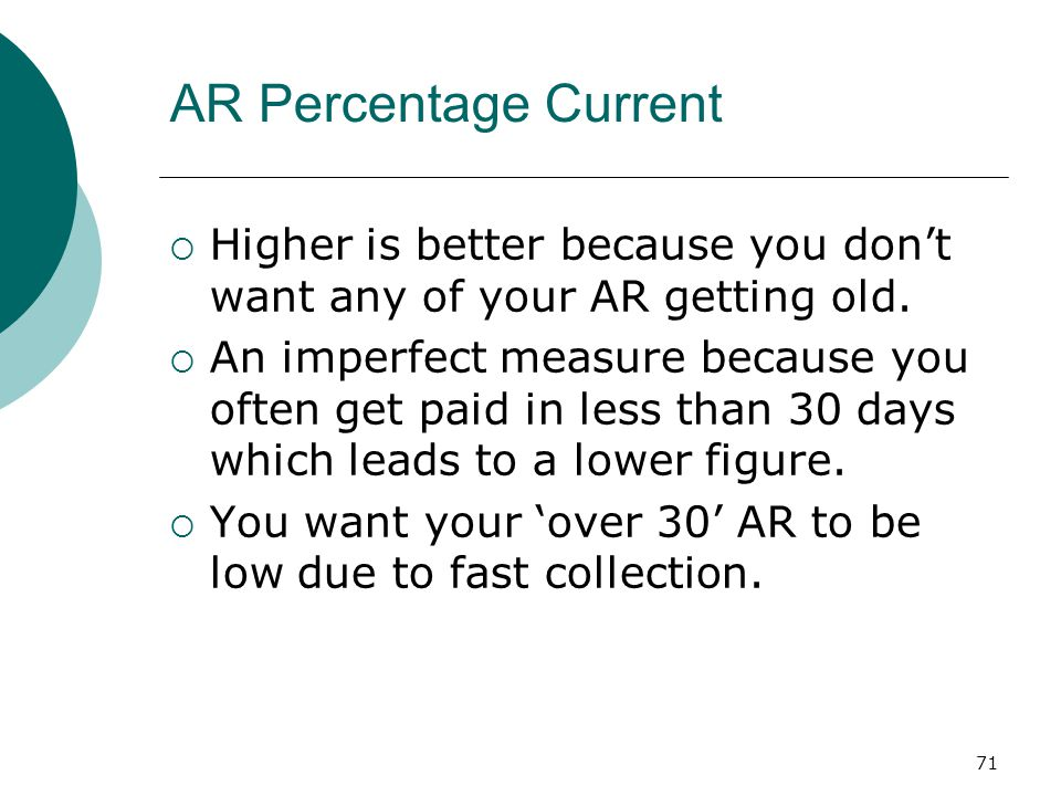 71 AR Percentage Current  Higher is better because you don't want any of your AR getting old.