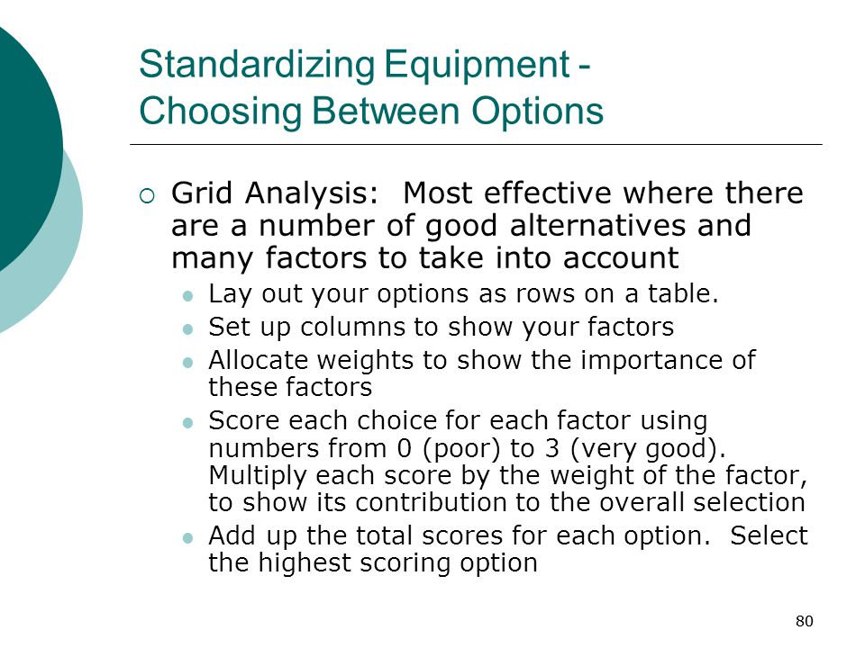 80 Standardizing Equipment - Choosing Between Options  Grid Analysis: Most effective where there are a number of good alternatives and many factors to take into account Lay out your options as rows on a table.