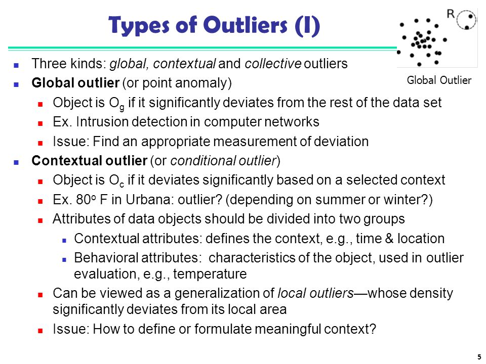 5 Types of Outliers (I) Three kinds: global, contextual and collective outliers Global outlier (or point anomaly) Object is O g if it significantly de