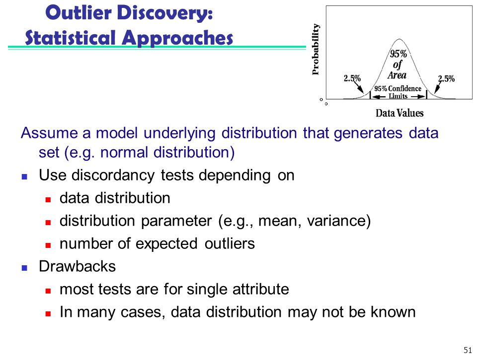 51 Outlier Discovery: Statistical Approaches Assume a model underlying distribution that generates data set (e.g. normal distribution) Use discordancy