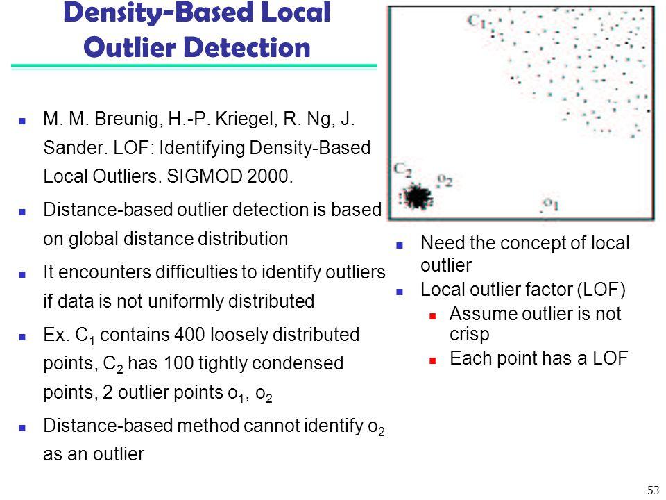 53 Density-Based Local Outlier Detection M.M. Breunig, H.-P.