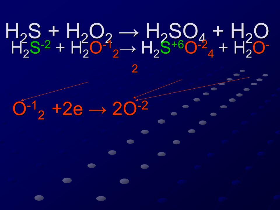 H 2 S + H 2 O 2 → H 2 SO 4 + H 2 O H 2 S + H 2 O 2 → H 2 SO 4 + H 2 O H 2 S -2 + H 2 O -1 2 → H 2 S +6 O -2 4 + H 2 O - 2 H 2 S -2 + H 2 O -1 2 → H 2 S +6 O -2 4 + H 2 O - 2 O -1 2 +2e →2O -2 S - 8e → S +6 S - 8e → S +6