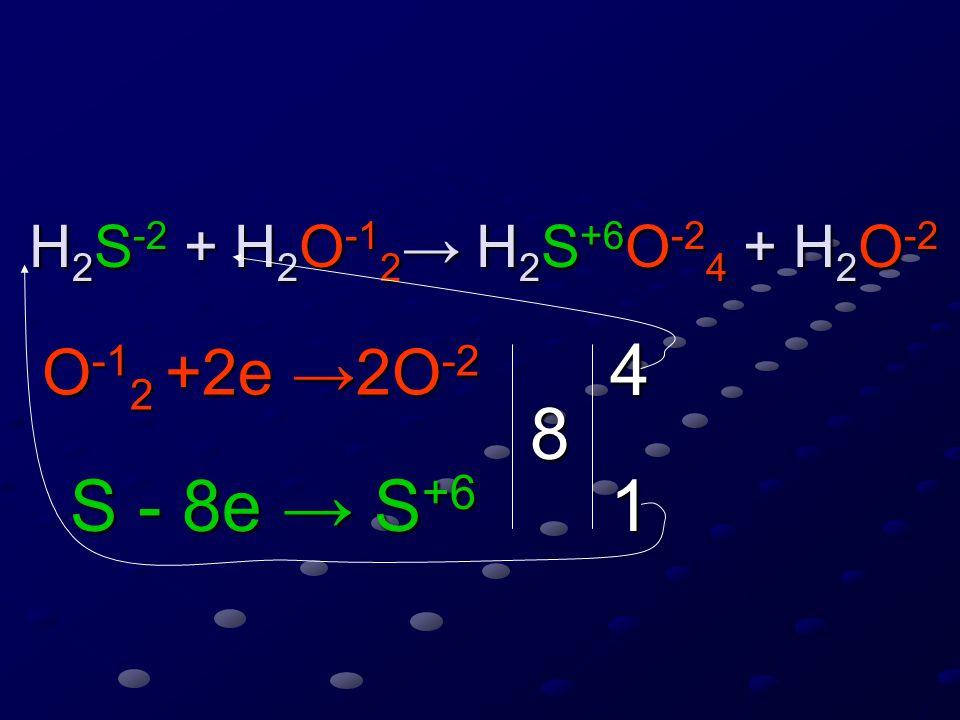 H 2 S -2 + H 2 O -1 2 → H 2 S +6 O -2 4 + H 2 O -2 H 2 S -2 + H 2 O -1 2 → H 2 S +6 O -2 4 + H 2 O -2 O -1 2 +2e →2O -2 S - 8e → S +6 S - 8e → S +6 8 4 1