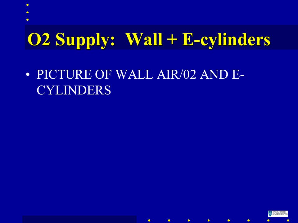 O2 Supply: Wall + E-cylinders PICTURE OF WALL AIR/02 AND E- CYLINDERS