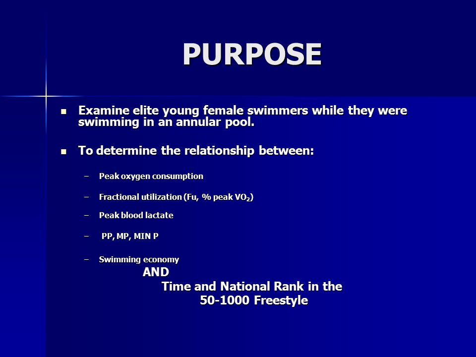 METHODS   Subjects : – –Elite adolescent female swimmers with at least one time ranked nationally in the 87 th percentile or higher according to USA Swimming's National Motivational Time Table.