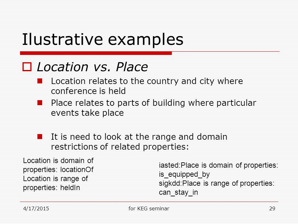 4/17/2015for KEG seminar29 Ilustrative examples  Location vs.