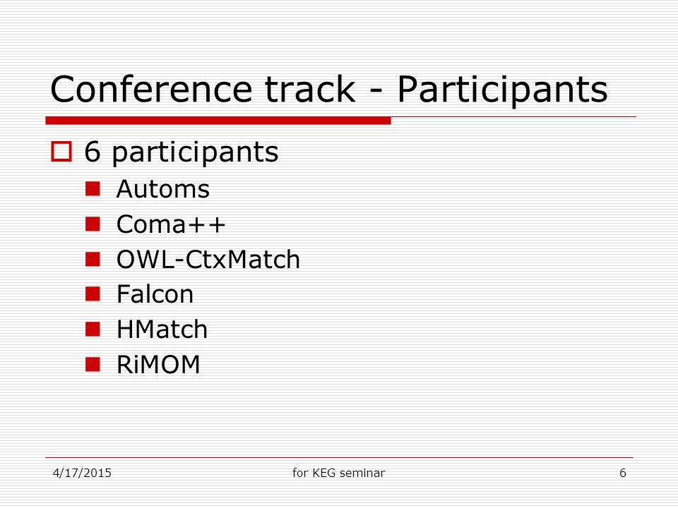 4/17/2015for KEG seminar6 Conference track - Participants  6 participants Automs Coma++ OWL-CtxMatch Falcon HMatch RiMOM