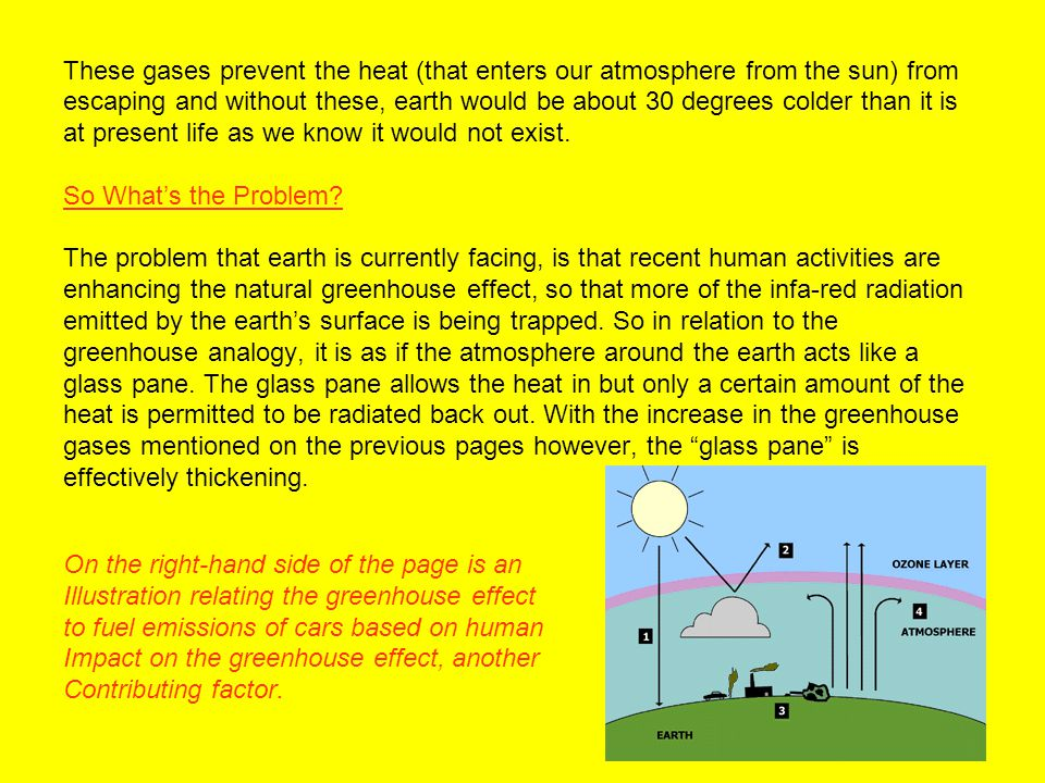 These gases prevent the heat (that enters our atmosphere from the sun) from escaping and without these, earth would be about 30 degrees colder than it